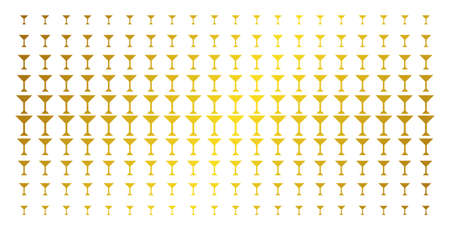 Martini glass icon gold colored halftone pattern. Vector martini glass pictograms are organized into halftone matrix with inclined golden gradient. Constructed for backgrounds, covers, Illustration