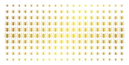 Mite tick icon golden halftone pattern. Vector mite tick items are arranged into halftone array with inclined golden gradient. Designed for backgrounds, covers, templates and beautiful compositions. Illustration