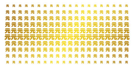 Yuan Renminbi icon gold colored halftone pattern. Vector Yuan Renminbi objects are organized into halftone matrix with inclined gold color gradient. Constructed for backgrounds, covers,