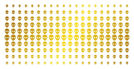 Alien face icon golden halftone pattern. Vector alien face symbols are organized into halftone grid with inclined gold color gradient. Constructed for backgrounds, covers,