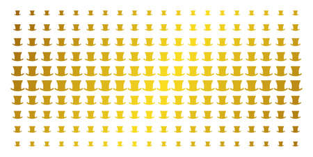 Gentleman hat icon gold halftone pattern. Vector gentleman hat shapes are arranged into halftone array with inclined golden gradient. Designed for backgrounds, covers,