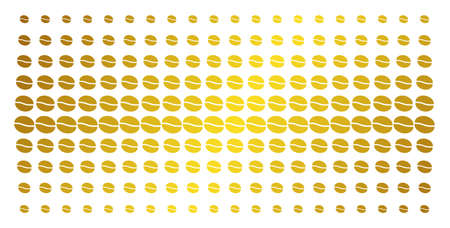 Coffee bean icon gold halftone pattern. Vector coffee bean items are organized into halftone grid with inclined gold gradient. Constructed for backgrounds, covers,