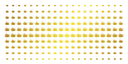 Explosion boom icon gold halftone pattern. Vector explosion boom symbols are organized into halftone grid with inclined gold gradient. Constructed for backgrounds, covers, Illustration
