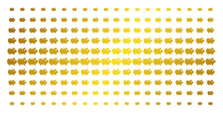 Piggy bank icon golden halftone pattern. Vector piggy bank pictograms are arranged into halftone grid with inclined golden gradient. Designed for backgrounds, covers, Illustration
