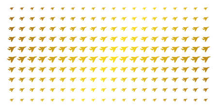 Airplane intercepter icon golden halftone pattern. Vector airplane intercepter items are arranged into halftone matrix with inclined golden gradient. Designed for backgrounds, covers,