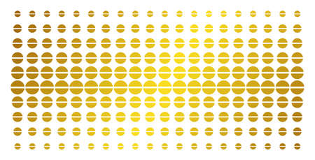 Pharmacy tablet icon golden halftone pattern. Vector pharmacy tablet items are arranged into halftone grid with inclined golden gradient. Designed for backgrounds, covers, Illustration