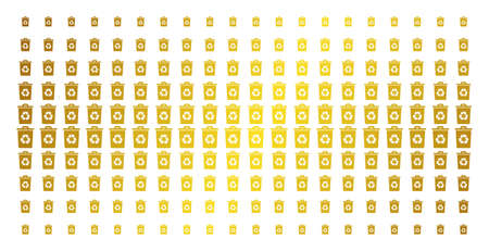 Recycle bin icon gold halftone pattern. Vector recycle bin items are arranged into halftone array with inclined golden gradient. Designed for backgrounds, covers, templates and bright compositions.