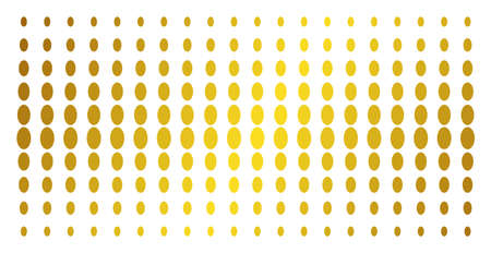 Filled ellipse icon golden halftone pattern. Vector filled ellipse symbols are organized into halftone array with inclined gold gradient. Constructed for backgrounds, covers,