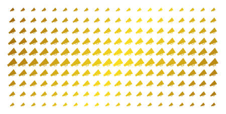 Megaphone icon gold colored halftone pattern. Vector megaphone symbols are organized into halftone array with inclined golden gradient. Constructed for backgrounds, covers,