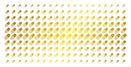 Male power pill icon gold colored halftone pattern. Vector male power pill symbols are organized into halftone matrix with inclined golden gradient. Constructed for backgrounds, covers,