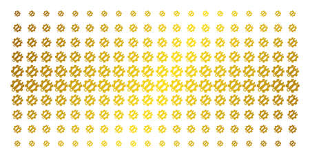 Service tools icon golden halftone pattern. Vector service tools symbols are organized into halftone grid with inclined gold gradient. Designed for backgrounds, covers,