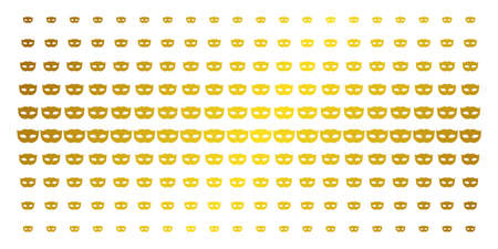 Privacy mask icon gold colored halftone pattern. Vector privacy mask pictograms are organized into halftone grid with inclined gold gradient. Constructed for backgrounds, covers, Illustration
