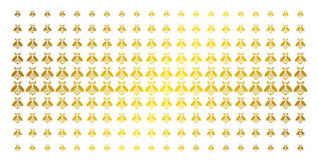 Bee icon golden halftone pattern. Vector bee symbols are organized into halftone array with inclined golden gradient. Constructed for backgrounds, covers, templates and abstract concepts. Ilustração