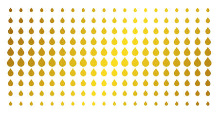 Drop icon gold colored halftone pattern. Vector drop symbols are arranged into halftone array with inclined gold color gradient. Designed for backgrounds, covers, templates and abstract compositions. Иллюстрация