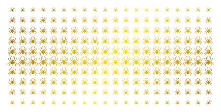 Spider icon gold halftone pattern. Vector spider items are organized into halftone array with inclined golden gradient. Designed for backgrounds, covers, templates and luxury concepts. Illustration