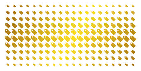 Tag icon gold colored halftone pattern. Vector tag objects are arranged into halftone matrix with inclined gold gradient. Designed for backgrounds, covers, templates and beautiful concepts.