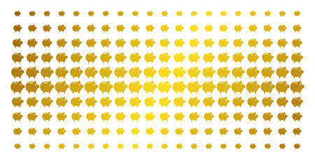 Piggy bank icon gold halftone pattern. Vector piggy bank objects are organized into halftone grid with inclined gold gradient. Designed for backgrounds, covers, templates and luxury concepts.
