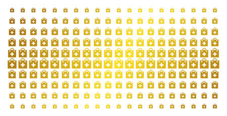 First aid kit icon gold halftone pattern. Vector first aid kit items are organized into halftone array with inclined gold color gradient. Constructed for backgrounds, covers,