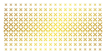 Crossing swords icon gold halftone pattern. Vector crossing swords symbols are arranged into halftone grid with inclined golden gradient. Designed for backgrounds, covers, Ilustração