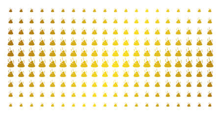 Shit smell icon gold colored halftone pattern. Vector shit smell symbols are arranged into halftone array with inclined gold gradient. Constructed for backgrounds, covers,
