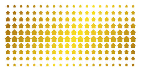 Cabin icon gold colored halftone pattern. Vector cabin shapes are arranged into halftone array with inclined golden gradient. Constructed for backgrounds, covers, templates and beautiful compositions. Illustration