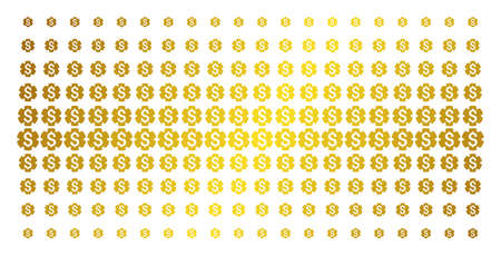 Financial settings gear icon gold colored halftone pattern. Vector financial settings gear pictograms are organized into halftone grid with inclined golden gradient. Constructed for backgrounds, Illustration