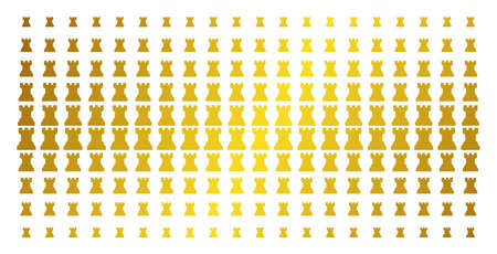 Chess tower icon gold colored halftone pattern. Vector chess tower pictograms are arranged into halftone array with inclined gold color gradient. Designed for backgrounds, covers,
