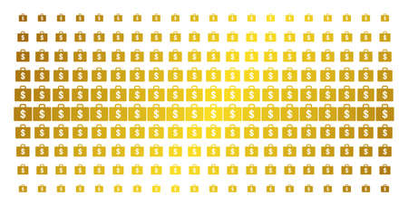 Business case icon gold halftone pattern. Vector business case items are organized into halftone array with inclined golden gradient. Constructed for backgrounds, covers, templates and luxury effects. Illustration