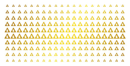 Caution icon gold halftone pattern. Vector caution shapes are organized into halftone matrix with inclined gold color gradient. Designed for backgrounds, covers, templates and luxury effects.