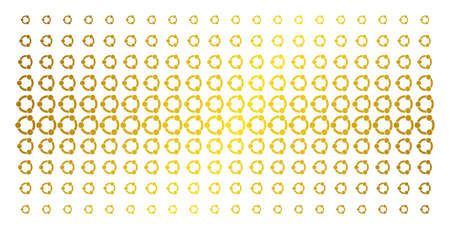 Cooperation icon golden halftone pattern. Vector cooperation objects are organized into halftone array with inclined golden gradient. Designed for backgrounds, covers, templates and luxury concepts. Illustration