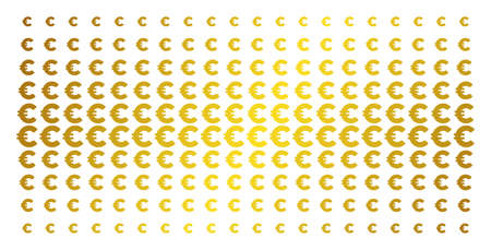 Euro icon gold colored halftone pattern. Vector Euro shapes are organized into halftone matrix with inclined golden gradient. Designed for backgrounds, covers, templates and abstract compositions.