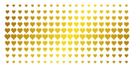 Hearts suit icon gold halftone pattern. Vector hearts suit symbols are organized into halftone matrix with inclined gold color gradient. Designed for backgrounds, covers,