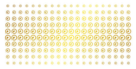 Insemination icon golden halftone pattern. Vector insemination pictograms are organized into halftone matrix with inclined golden gradient. Designed for backgrounds, covers,