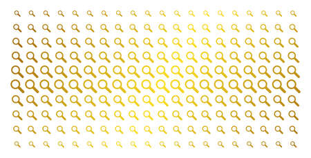 Search icon golden halftone pattern. Vector search pictograms are arranged into halftone grid with inclined golden gradient. Designed for backgrounds, covers, templates and beautiful compositions. Illustration