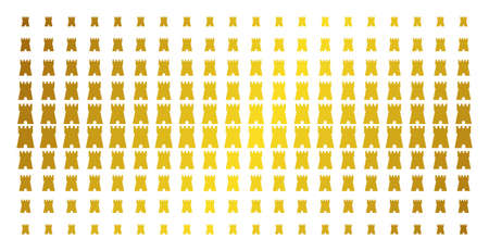 Bulwark tower icon golden halftone pattern. Vector bulwark tower symbols are organized into halftone matrix with inclined gold gradient. Constructed for backgrounds, covers,