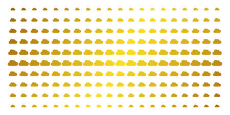 Cloud icon golden halftone pattern. Vector cloud symbols are organized into halftone matrix with inclined gold gradient. Constructed for backgrounds, covers, templates and luxury concepts.