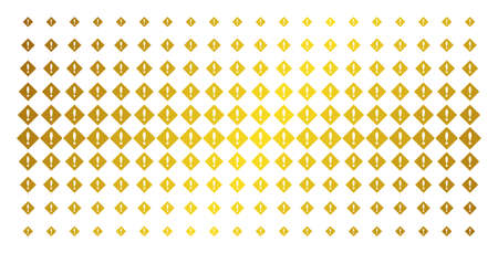Error icon gold halftone pattern. Vector error symbols are arranged into halftone matrix with inclined gold gradient. Designed for backgrounds, covers, templates and luxury effects. Ilustração