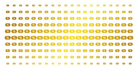 Discount coupon icon gold colored halftone pattern. Vector discount coupon objects are organized into halftone matrix with inclined gold gradient. Constructed for backgrounds, covers,