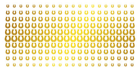 Horseshoe icon gold halftone pattern. Vector horseshoe pictograms are organized into halftone grid with inclined gold color gradient. Constructed for backgrounds, covers,