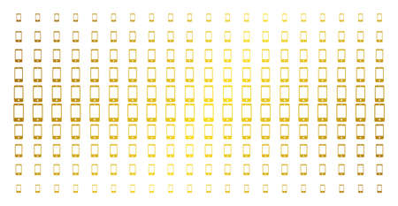 Smartphone icon gold halftone pattern. Vector smartphone objects are arranged into halftone array with inclined gold gradient. Constructed for backgrounds, covers, templates and beautiful effects.