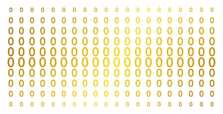 Zero digit icon golden halftone pattern. Vector zero digit shapes are organized into halftone matrix with inclined gold color gradient. Constructed for backgrounds, covers, Ilustração