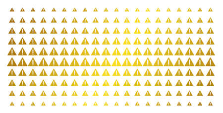 Warning icon gold halftone pattern. Vector warning items are arranged into halftone array with inclined golden gradient. Designed for backgrounds, covers, templates and bright concepts.