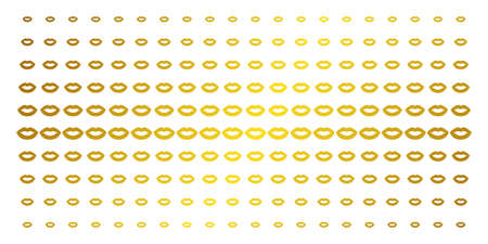 Sexy lips icon gold colored halftone pattern. Vector sexy lips symbols are organized into halftone grid with inclined golden gradient. Designed for backgrounds, covers,