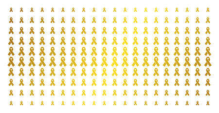 Mourning ribbon icon golden halftone pattern. Vector mourning ribbon shapes are arranged into halftone array with inclined gold gradient. Designed for backgrounds, covers,
