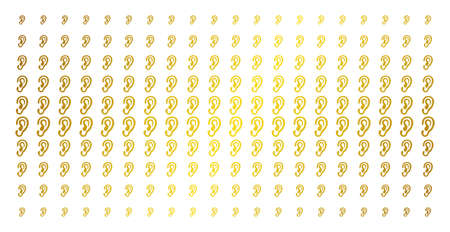 Ear icon gold colored halftone pattern. Vector ear items are arranged into halftone matrix with inclined gold color gradient. Designed for backgrounds, covers, templates and luxury effects. Banque d'images - 102966006