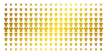 Lady T-shirt icon golden halftone pattern. Vector lady T-shirt objects are arranged into halftone array with inclined gold gradient. Constructed for backgrounds, covers, templates and luxury concepts. Illustration