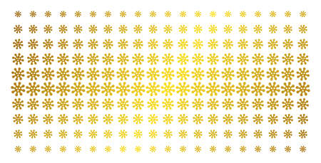 Virus icon gold colored halftone pattern. Vector virus symbols are organized into halftone array with inclined golden gradient. Constructed for backgrounds, covers, templates and beautiful concepts. Illustration