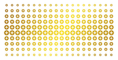 Create icon gold halftone pattern. Vector create items are organized into halftone matrix with inclined gold color gradient. Constructed for backgrounds, covers, templates and beautiful concepts.