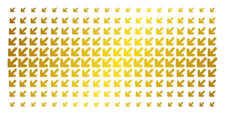 Arrow down left icon gold halftone pattern. Vector arrow down left shapes are arranged into halftone matrix with inclined gold color gradient. Constructed for backgrounds, covers,