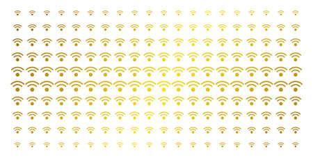WiFi icon gold colored halftone pattern. Vector WiFi pictograms are organized into halftone matrix with inclined gold gradient. Constructed for backgrounds, covers, templates and luxury effects.